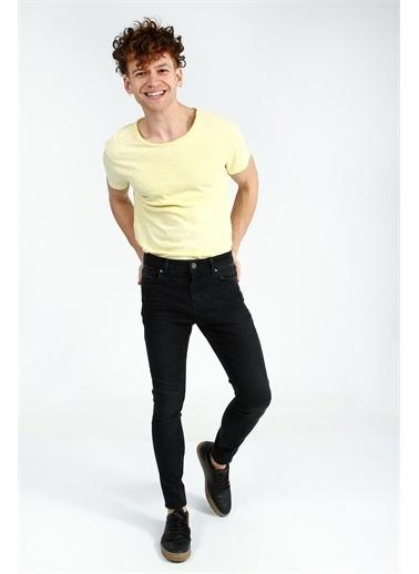 Collezione Sarı Erkek Basıc Bisiklet Yaka Tshirt Kısa Kol Sarı